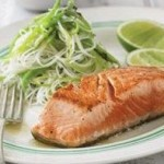 Snow Pea Salad & Salmon 1