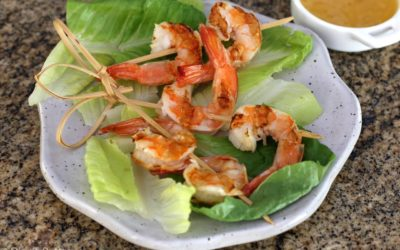Grilled Shrimp with Garlic Butter Dipping Sauce!